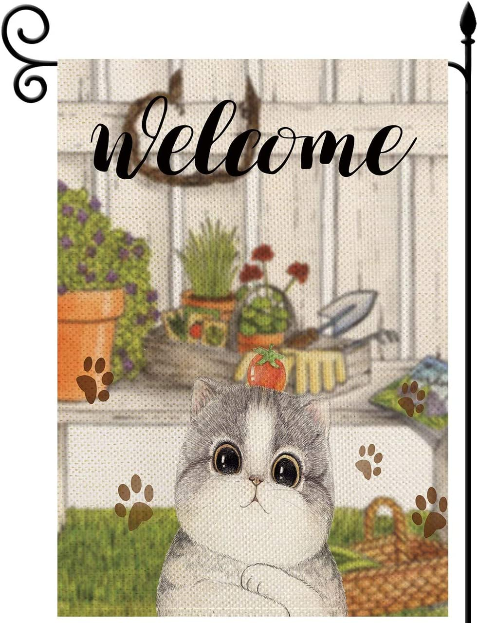 YaoChong Cute Cat Small Garden Flag Vertical Burlap Double Sided 12x18 Inch,Welcome Cat Pet Flag Seasonal Summer House Yard Lawn Decor