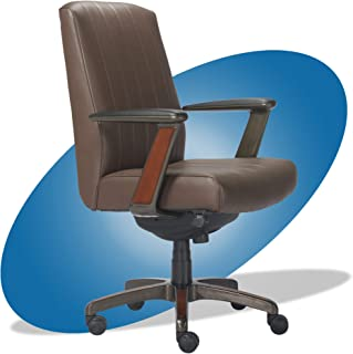 product image for La-Z-Boy Bennett Modern Executive Lumbar Support, Rich Wood Inlay, High-Back Ergonomic Office Chair, Bonded Leather, Brown