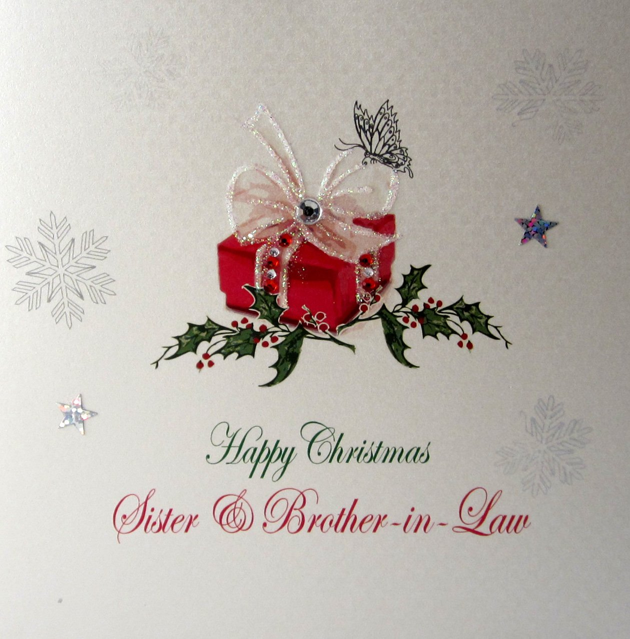White Cotton Cards X117 Happy Christmas Sister And Brother In Law Handmade Christmas Card With Present Design White Seasonal