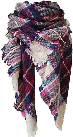 Red//Purple Women/'s Winter Long Scarf Wrap Blanket Oversized Shawl Plaid Tartan
