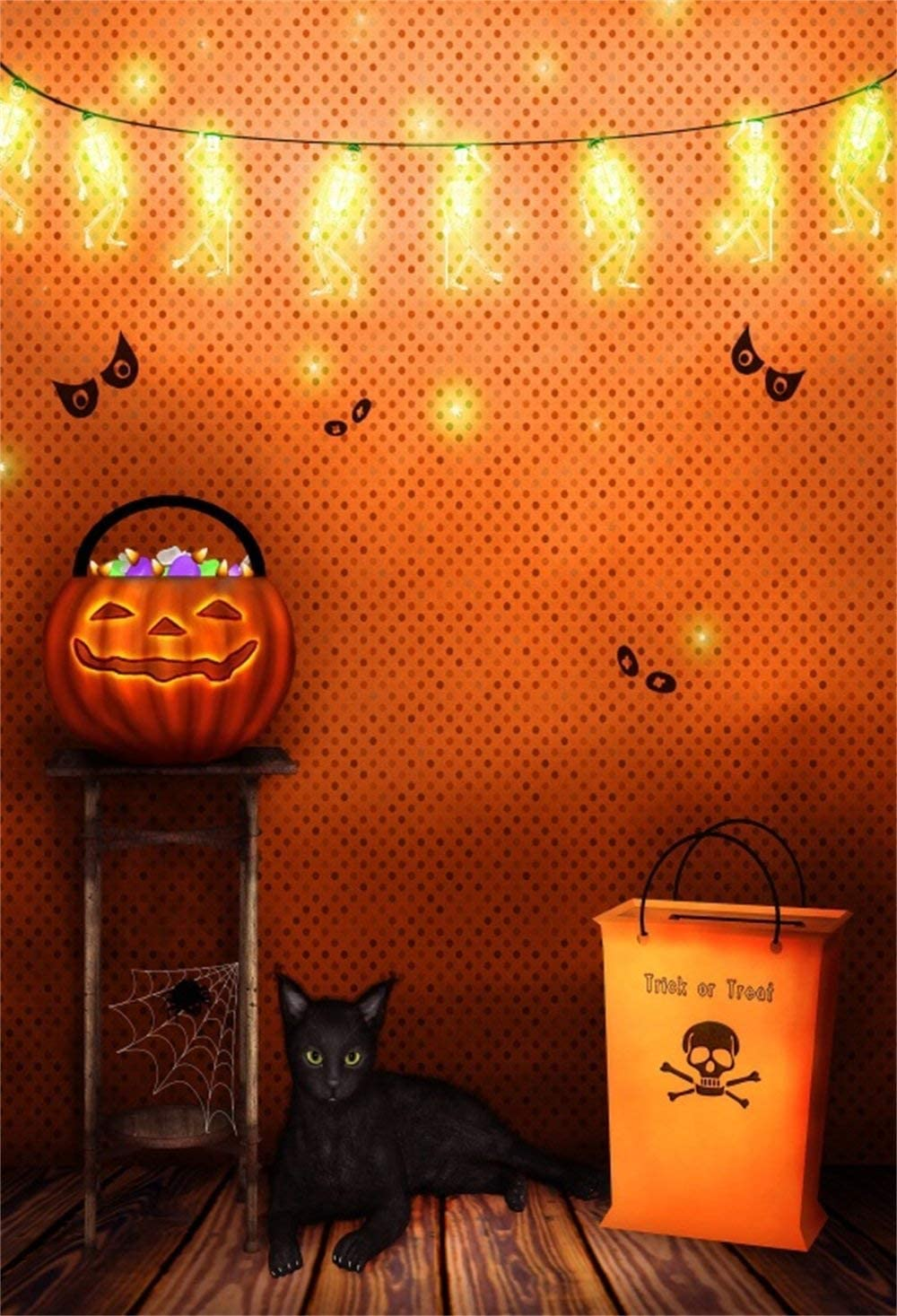Amazon Com Cdhbh 6x9ft Halloween Theme Background Tricky Witch S Room Pumpkin Hut Ghost Eyes Skeleton Light Black Cat Spider Web Skull Photo Studio Photo Photography Props Festival Venue Party Layout Camera Photo