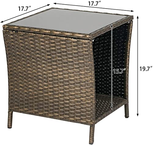 KINTNESS Wicker Rattan Side Table Outdoor End Table Patio Courtyard Coffee Bistro Glass Table