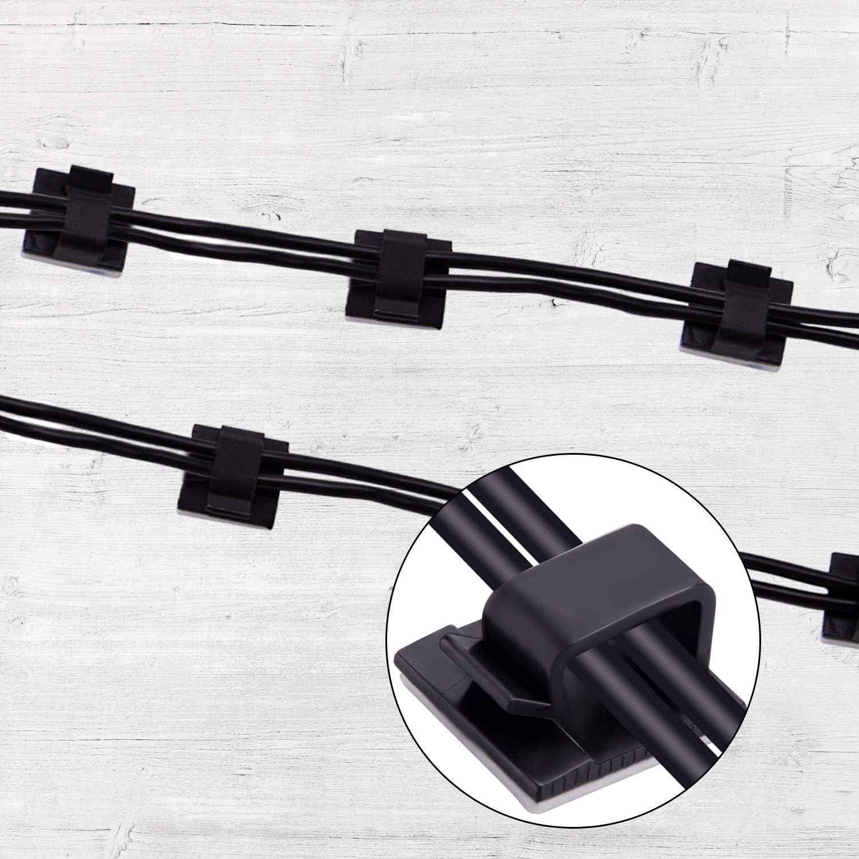 Negro BQTQ 150 Piezas Clips de Cable Adhesivos 3 Tama/ños Organizaci/ón de Cables para Oficina Hogar TV PC