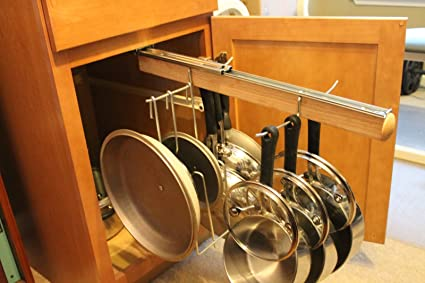 Amazon Com Legalized Pot Rack Pull Out Hanging Pot And Pan Lid Rack