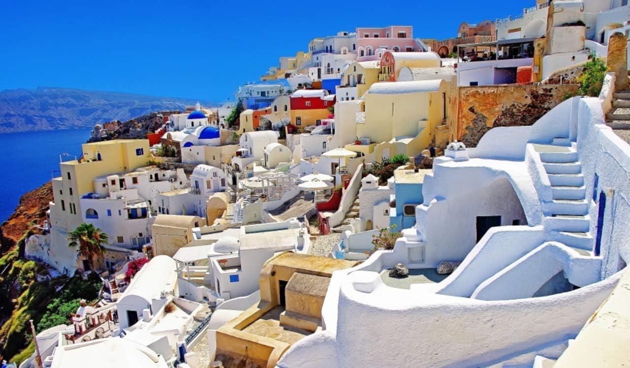 OKOUNOKO Pintura por Números Santorini Oia Grecia Dibujo para ...