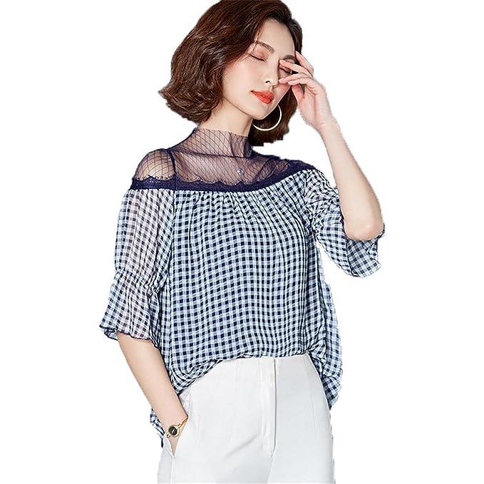 Blusa De Gasa Mujeres Camisa A Cuadros Encaje Bordado Corto, M