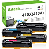 Aztech 4 Pack XXL Compatible for HP 410X CF410X CF411X CF412X CF413X(HP 410A CF410A) Toner Cartridge for HP Color LaserJet Pro MFP M477fdw M477fnw M452dn M452nw M477fdn M377dw M477 M452 Printer