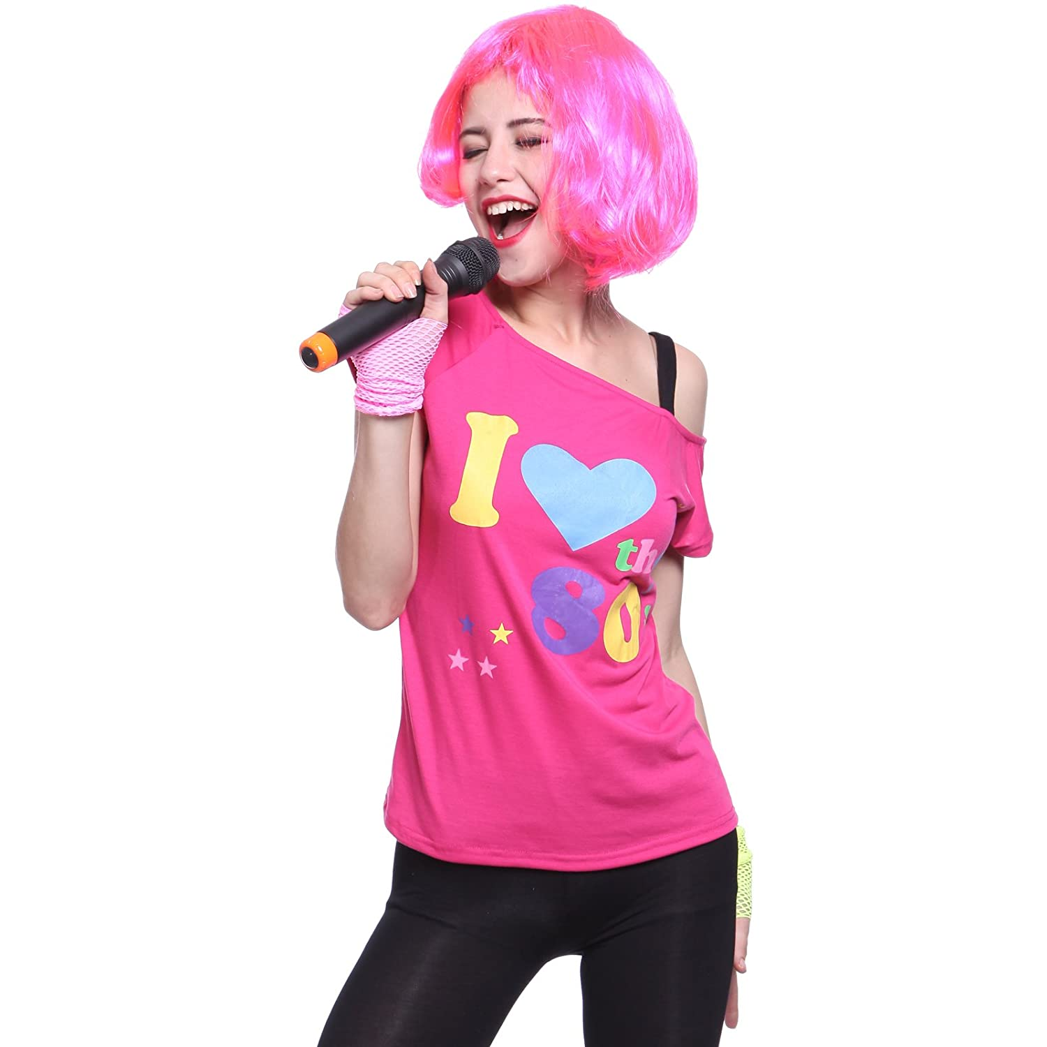 I Love The 80\'s Pop Star T-Shirt Top 80s Party Girl Fancy Dress Pink ...