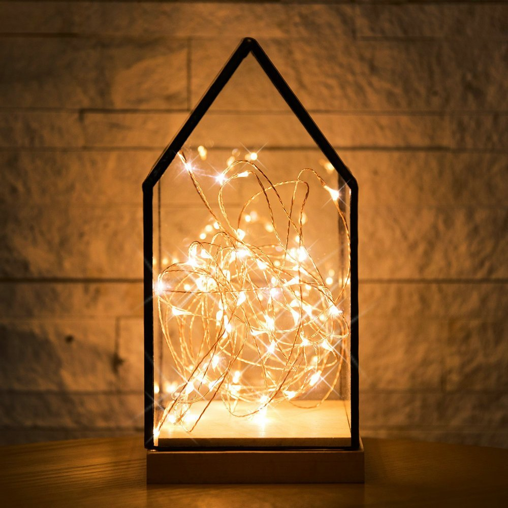 NCYP House Shape Gift Decor Terrarium Lantern Containers 3m String Light Set