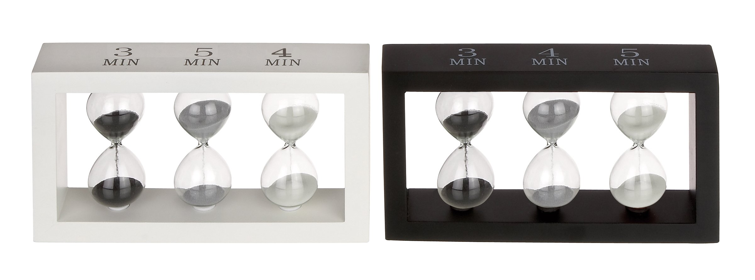 Deco 79 Wood Glass Sand Timer, 2 Assorted, 9 by 5''