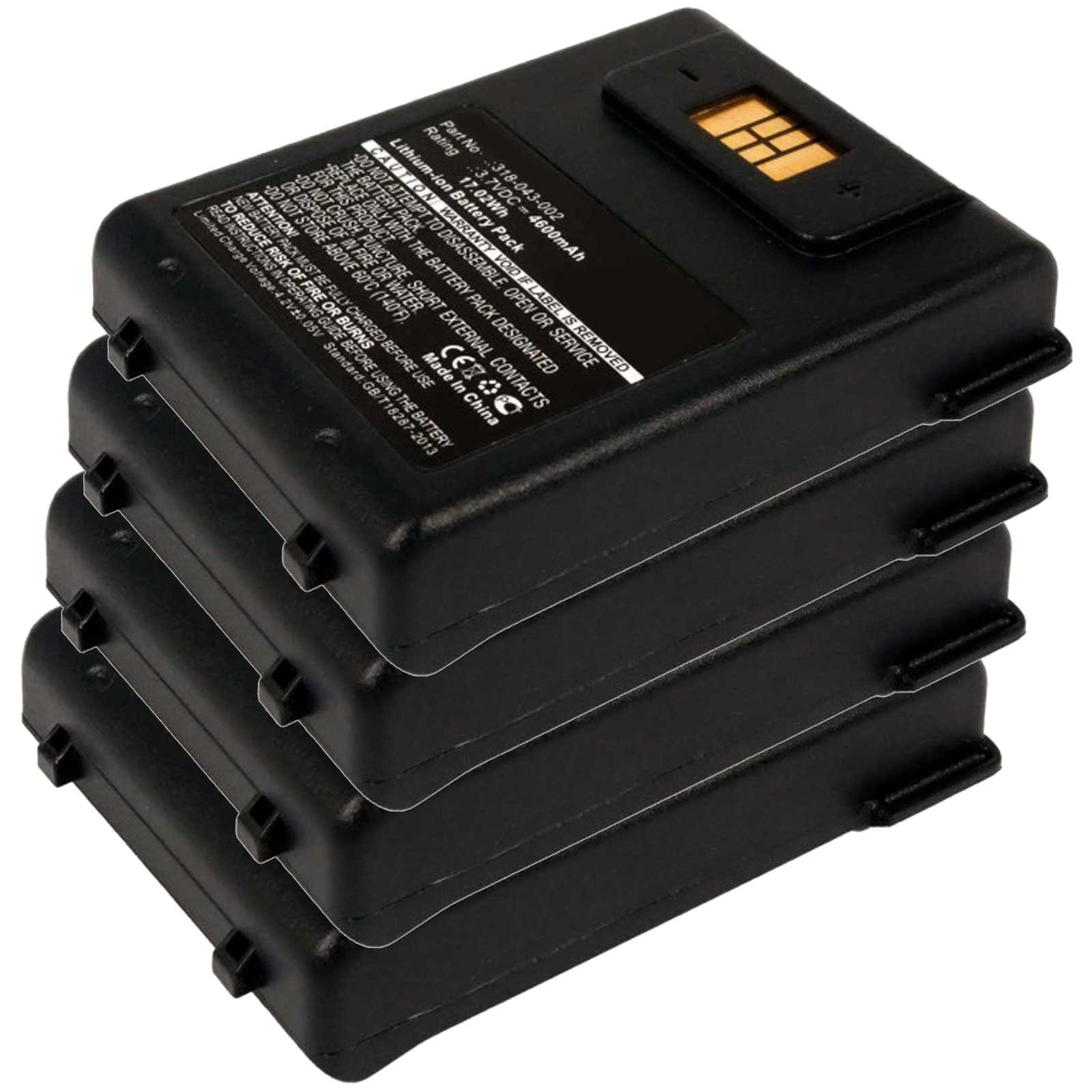4x Exell EBS-CN70X Li-Ion 3.7V 4600mAh Batteries For Intermec CN70, CN70e. Replaces Cameron Sino CS-ICN700BX, INTERMEC 318-043-002