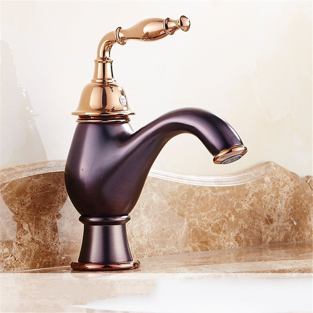 F FHLYCF Sometimes leading European antique bronze cold water single hole basin pink gold Bathroom Sink Faucet,G