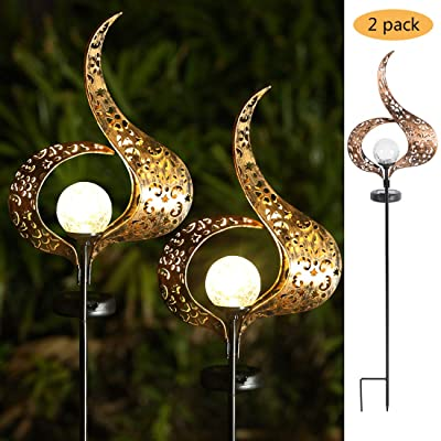 Garden Solar Lights Outdoor, Flame Decor, Crackle Glass Ball Waterproof Metal Decorative Stakes Lights for Lawn, Patio, Pathway, Yard, -2 Pack : Garden & Outdoor