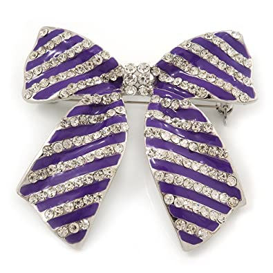 Large Purple Enamel Diamante 'Bow' Brooch In Rhodium Plating - 6cm Length 9pQEF7lr