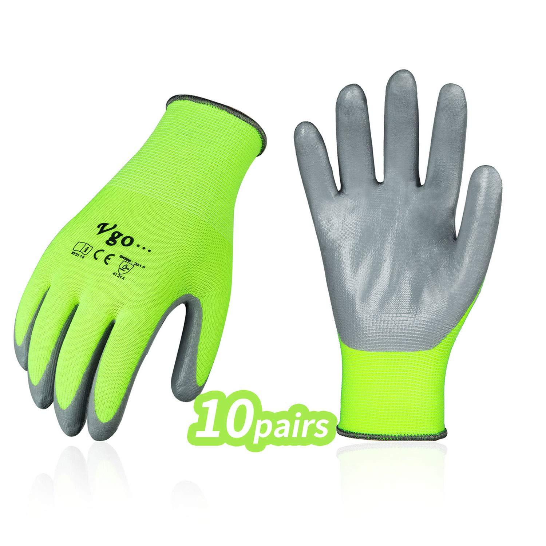 Vgo 10Pares Guantes de Trabajo y Jardinería con Revestimiento de Nitrilo (Tamaño 10/XL,Amarillo Fluorescente,NT2110)
