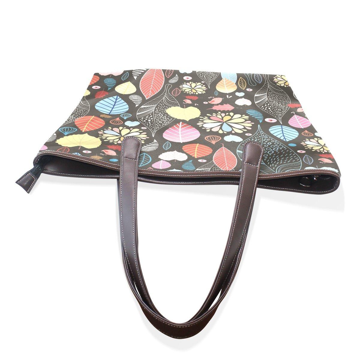 Mr.Weng Household Abstract Leave Lady Handbag Tote Bag Zipper Shoulder Bag