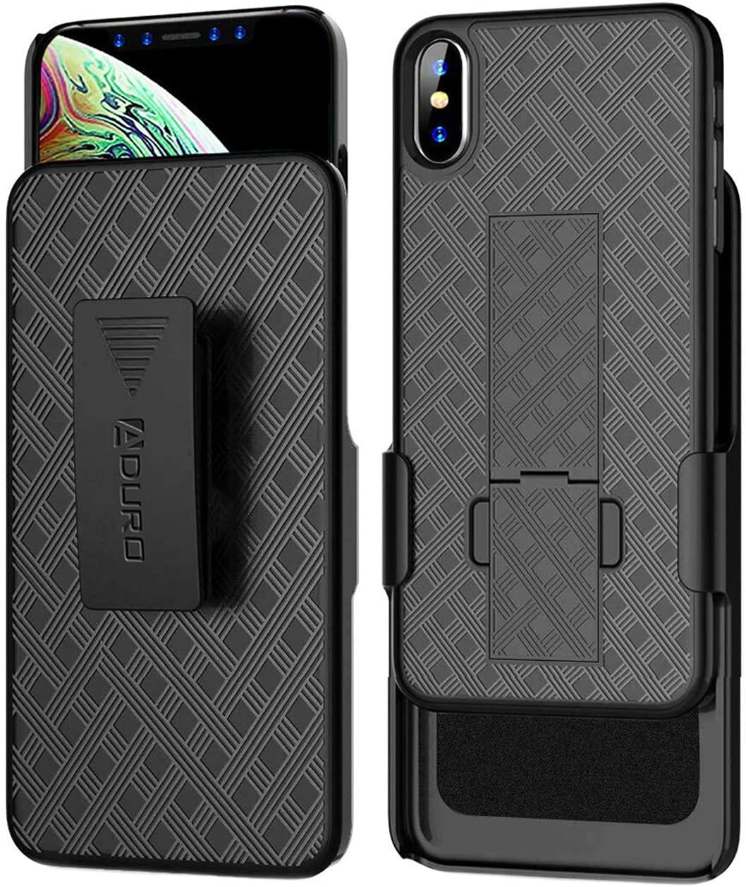 Aduro iPhone Xs Max Holster Case, Combo Shell & Holster Case - Super Slim Shell Case with Built-in Kickstand, Swivel Belt Clip Holster for Apple iPhone Xs Max (2018/2019)