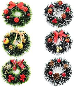 ZERIRA 6 Pack Artificial Christmas Wreath Christmas Spruce Wreath for Front Door Christmas Holiday Indoor Home Decor