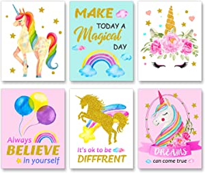 "Unicorn Art Wall Decor Posters,Unicorn Bedroom Decor for Girls,Girls Room Decor, Unicorn Wall Decor, Kids Room Decor for Girls, Girls Room Decorations for Bedroom, (Unframed,8""X10"")"