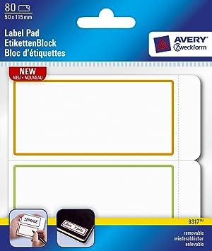 avery label pad removable 115x50mm orange green border ref 8317 80