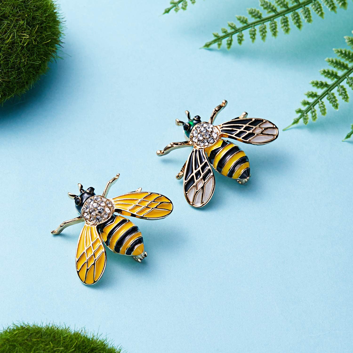 3Pcs Cute Honeybee Enamel Brooches Pin Antique Crystal Rhinestones Bee Scarf Clips for Women Girls (Style5) by beemean (Image #3)