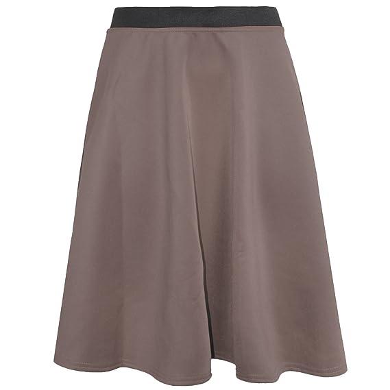 Falda midi tipo skater, con vuelo marrón moca: Amazon.es: Ropa y ...