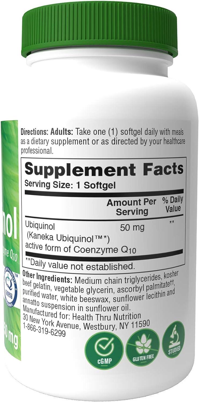 Ubiquinol 50mg 90 Softgels EAF CoQ10 (Enhanced Absorption Formula Coenzyme Q10 as Kaneka Ubiquinol) (Soy-Free, Gluten-Free & Non-GMO)