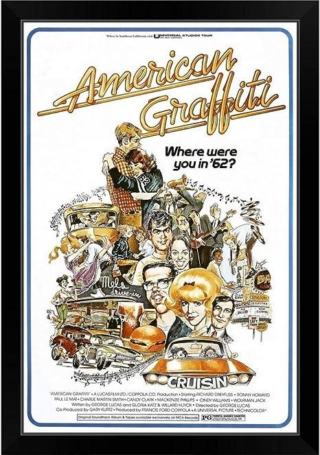 Amazon Com Canvas On Demand American Graffiti Movie Poster Black Framed Art Print 23 X33 X1 Posters Prints