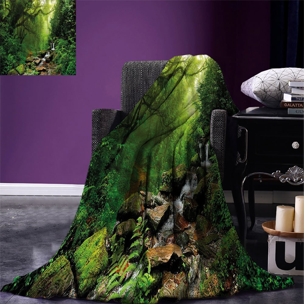smallbeefly Nature Lightweight Blanket Into the Woods Idyllic Forest Greenland Dreamy Mystic Fresh Tropical View Digital Printing Blanket Emerald Hunter Green