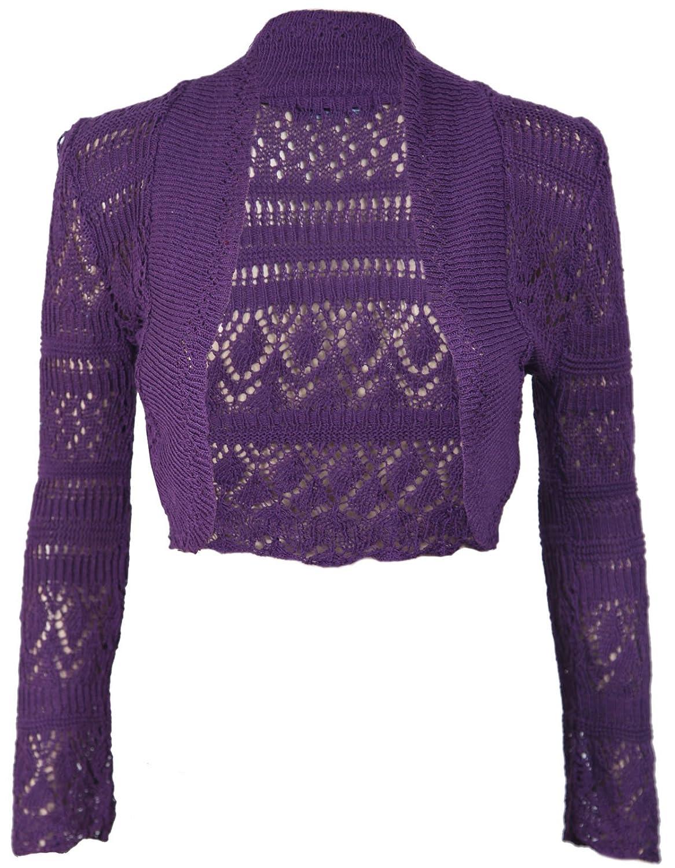 Purple Hanger Damen lang/ärmlig H/äkel Bolero Schulterjacke Top Damen schlicht abgeschnitten offene Strickjacke Oberteile