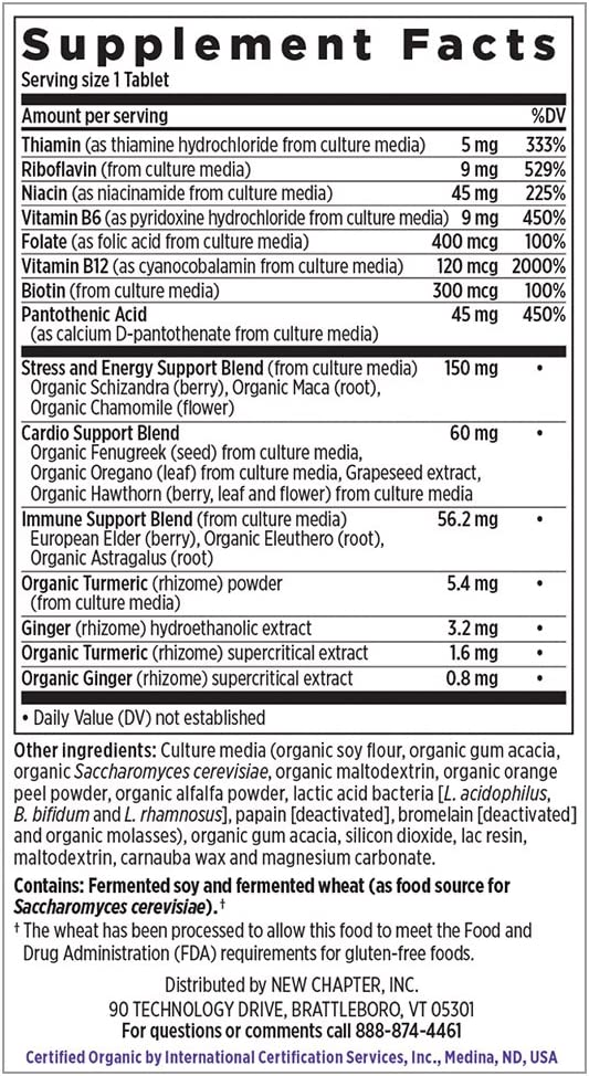 New Chapter Vitamin B Complex – Coenzyme B Food Complex with Vitamin B12 Vitamin B6 Biotin Organic Non-GMO Ingredients – 90 ct