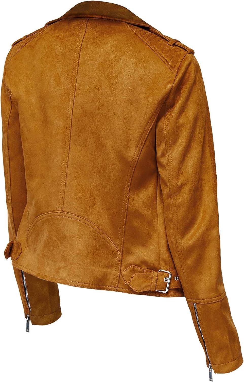 LP-FACON Womens Brando Motorcycle Brown Suede Leather Biker Jacket