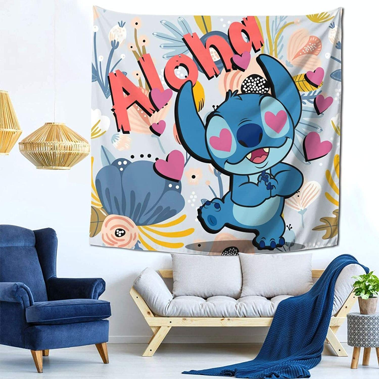 Luxury Tapestry, Li-Lo & Sti-Tch Baby Anime Bedding Wall Hanging Art Decor, Soft Throw Blankets For Hotel Living Room Decoration, 59x59 Inch