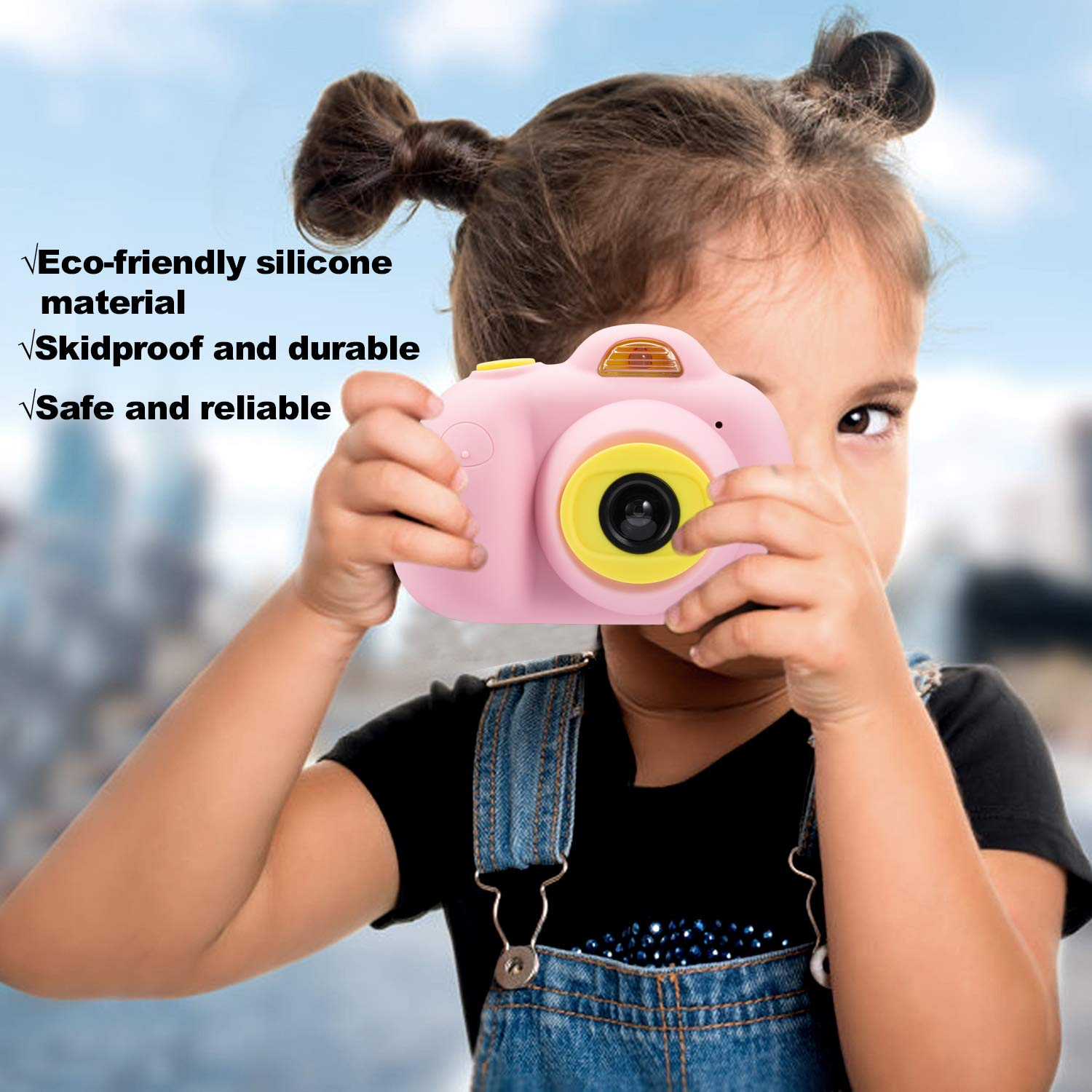 Abdtech Kids Camera Video Cameras Gifts for Girls, Mini Rechargeable Children Shockproof Digital Camcorders Little Girl Toys Gift 8MP with Battery 2 Inch Screen 16GB SD Card ( Pink ) by Abdtech (Image #3)