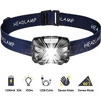 SOONHUA Led-zaklamp, touch-zaklamp, 300 lumen, USB-aansluiting, camping, outdoor, de beste hoofdlamp voor volwassenen en…
