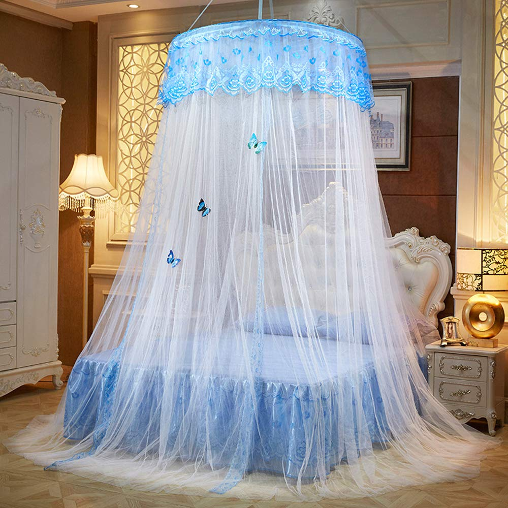 White Mengersi Bed Canopy Mosquito Net Round Bed Curtains with Butterfly Twin Full Queen King Size