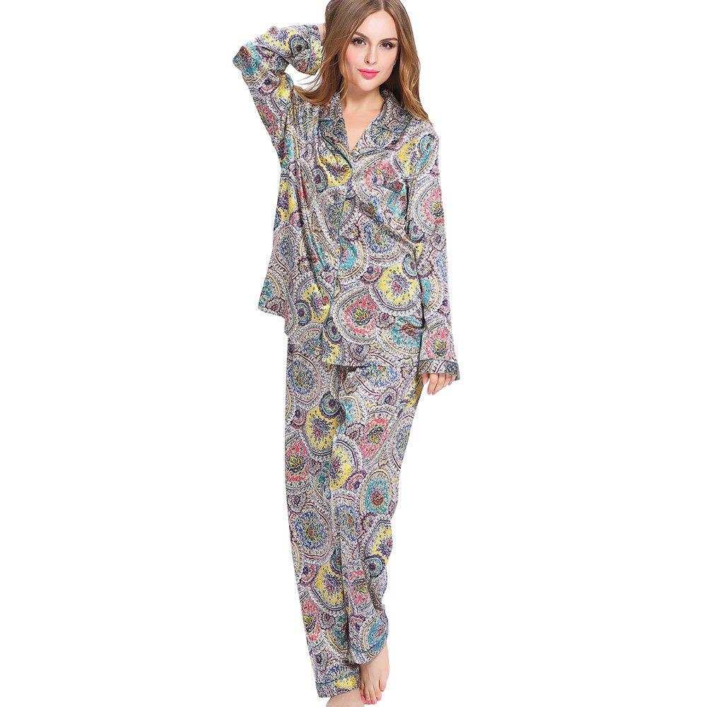 1da8cd181e LilySilk Womens Silk Pajamas Set Long Sleeve Sleepwear 2pcs Floral  Geometric 2156 at Amazon Women s Clothing store