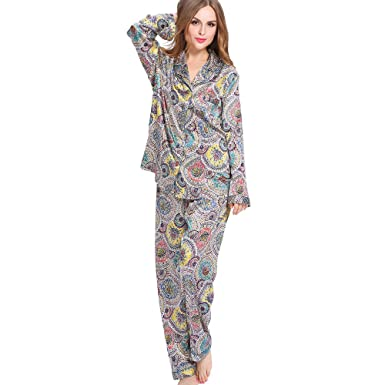 ee6ecbc5c7 LilySilk Womens Pure Luxury Silk Pajamas Set Long Sleeve Sleepwear 2pcs  Floral Geometric XS
