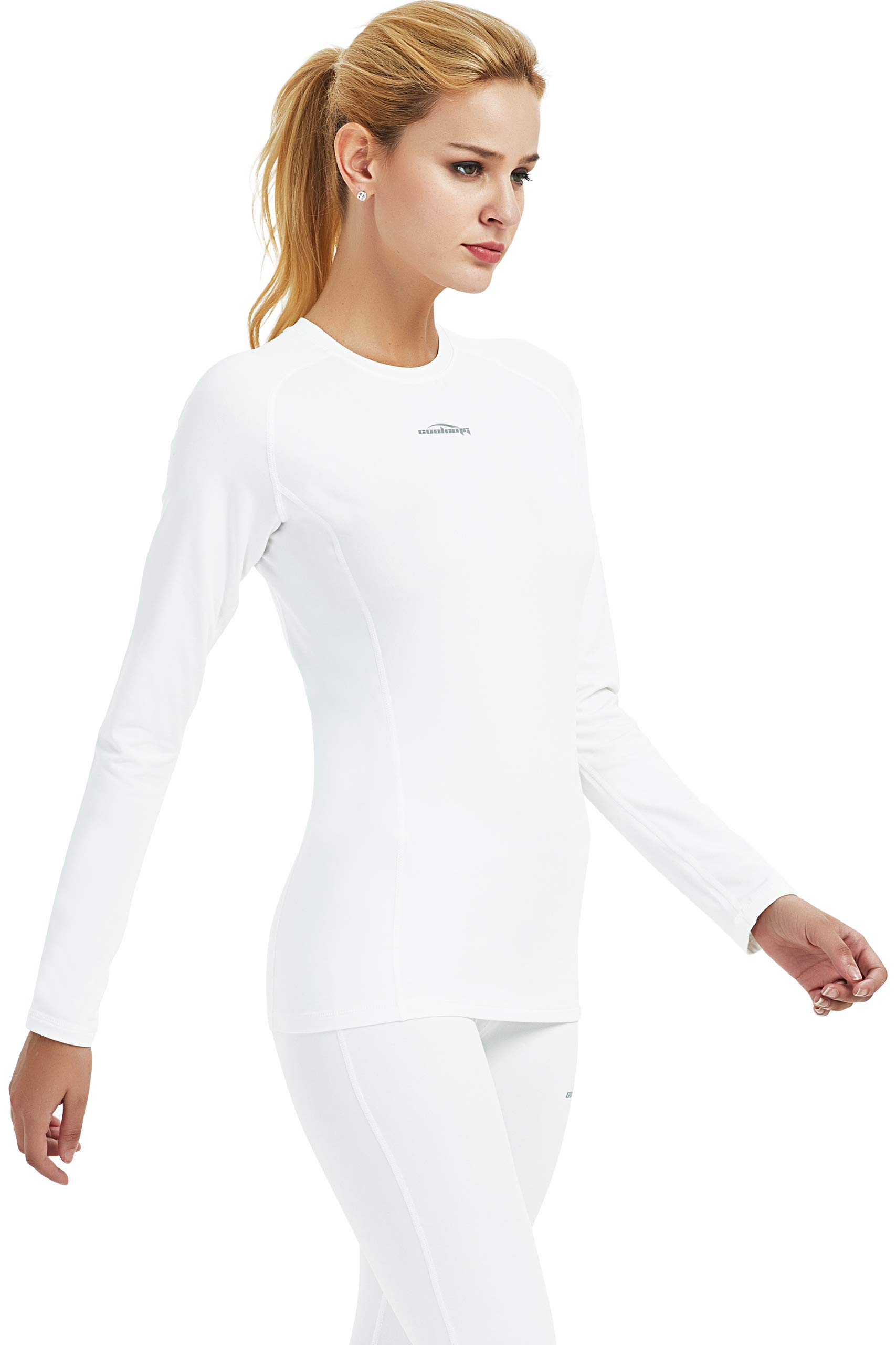 Women's Thermal Compression Shirt Winter Baselayer Long Sleeve Fleece-Lined Workout Yoga Running Skiing Tops