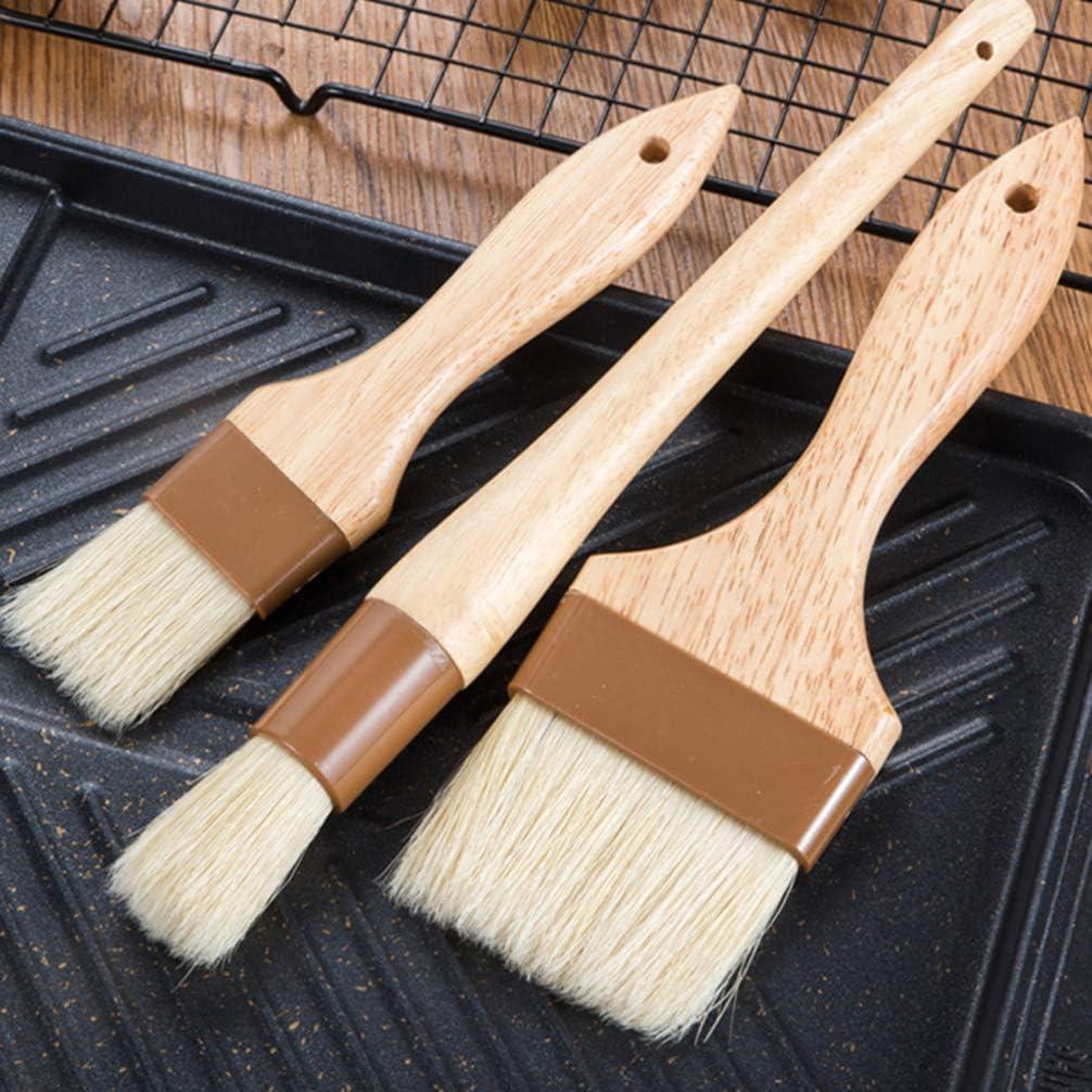 Small+Medium Hemoton 4 Pcs Pastry Brushes Basting Brushes Wood Handle Baking Brushes for Grill BBQ Sauce Baster Baking Cooking