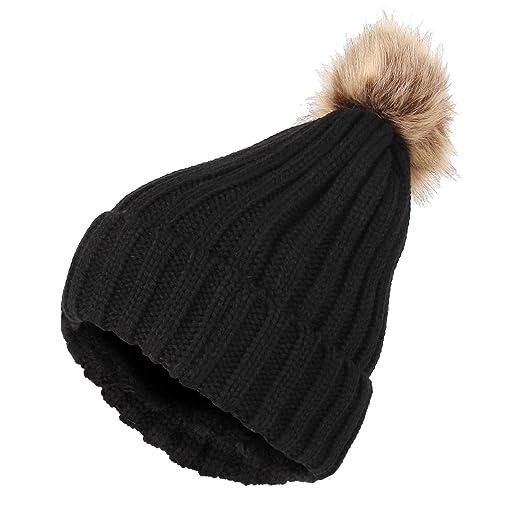 d5e70d574 WITHMOONS Fleece Ribbed Knit Pom Beanie Winter Hat Slouchy Cap CZP0011