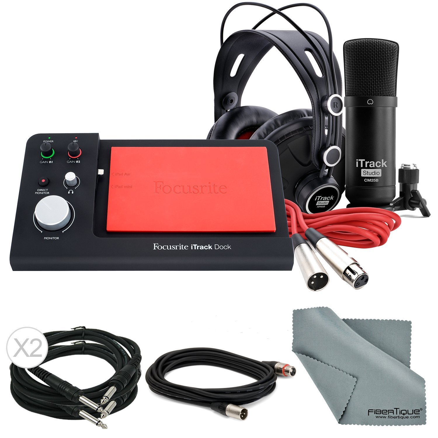 Focusrite iTrack Dock Professional Studio Kit Deluxe Bundle Contains iTrack Dock + CM25S + HP60 W/ Complete Bundle and Fibertique Cleaning Cloth