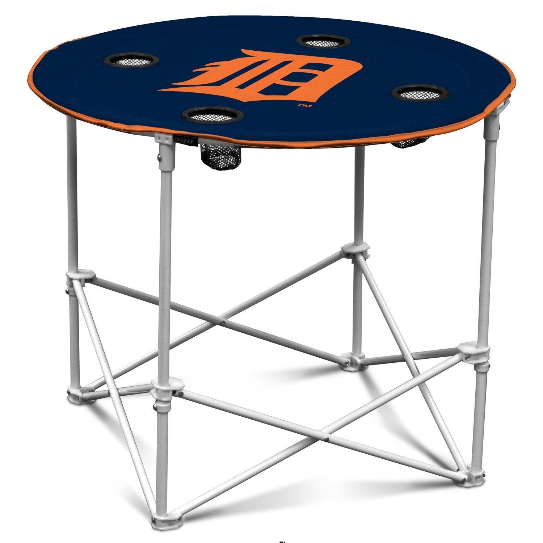 ロゴラウンドテーブル装飾、Detroit Tigersブルーキャンプピクニックテーブル、4カップホルダー B07CMGWQNT