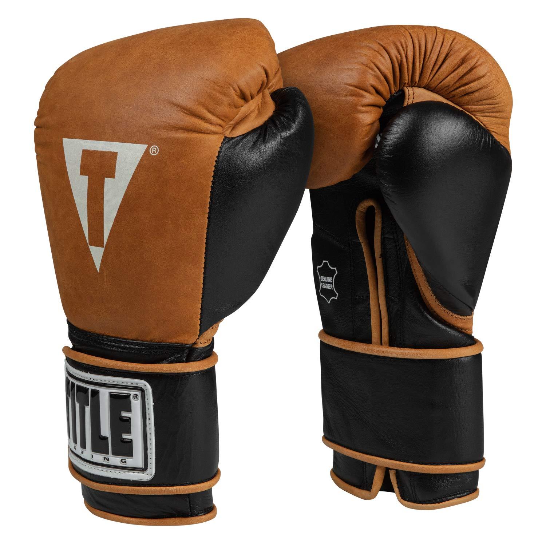 タイトルボクシングヴィンテージトレーニンググローブ B07HBCD13V ブラウン/ブラック 16 oz