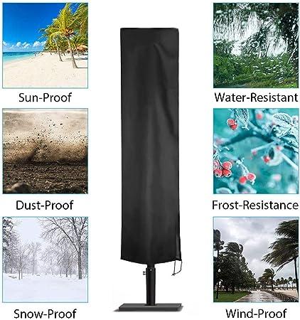 Funda Protectora para Sombrillas de Jardín Funda Protectora Para Parasol Sombrilla Cubiertas Impermeables Sombrilla con Cremallera y Cordón - Transpirable 210D Oxford Tela - 2 Piezas Negro: Amazon.es: Hogar