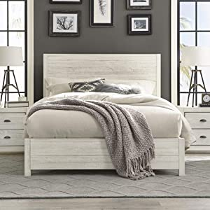 Grain Wood Furniture Montauk Full-Size Solid Wood Panel Bed Rustic Off-White Farmhouse, Nautical & Coastal