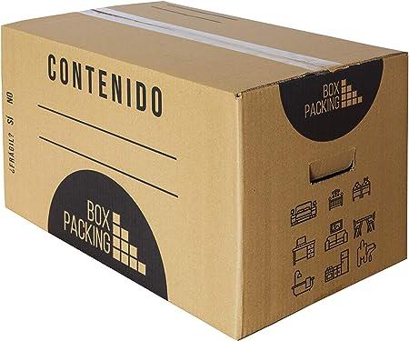 BOXPACKING | Pack 10 Cajas Cartón para Mudanza y Almacenaje | 55x35x35 cm | Con Asas | Tamaño grande: Amazon.es: Oficina y papelería