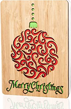 Amazon Com Merry Christmas Cards Gifts Handmade Real Bamboo Happy Holidays Card Vibrant Festive Design Perfect For Sending Xmas Or Season S Greetings To Husband Wife Parents Her Him Friends And