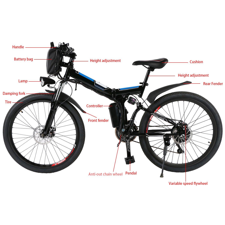 ZOKEO Montaña Mountain Bike 250 vatios 36 V Shimano 26 Bicicleta eléctrica Plegable montaña 7 velocidades aleación de Aluminio Marco Plegable E-Bike (Type ...