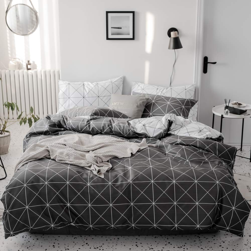 VM VOUGEMARKET 3 Pieces Geometric Duvet Cover Set King Cotton Diamond Duvet Cover Matching 2 Pillow Shams,Colorful Reversible Bedding Set-King,Diamond VT005-2K